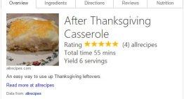 Bing mostrará recetas de cocina