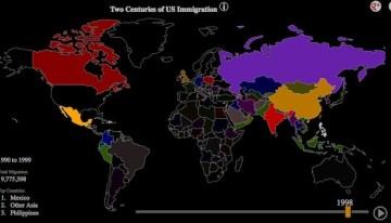 Mapa interactivo muestra cómo ha sido la inmigración hacia los Estados Unidos en los últimos 200 años