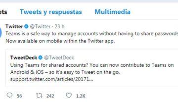 Team, la nueva función de Twitter que permite usar cuentas compartidas