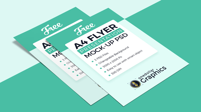 Download 3 High Quality Free A4 Flyer Mockup PSD Files - One Dollar ...