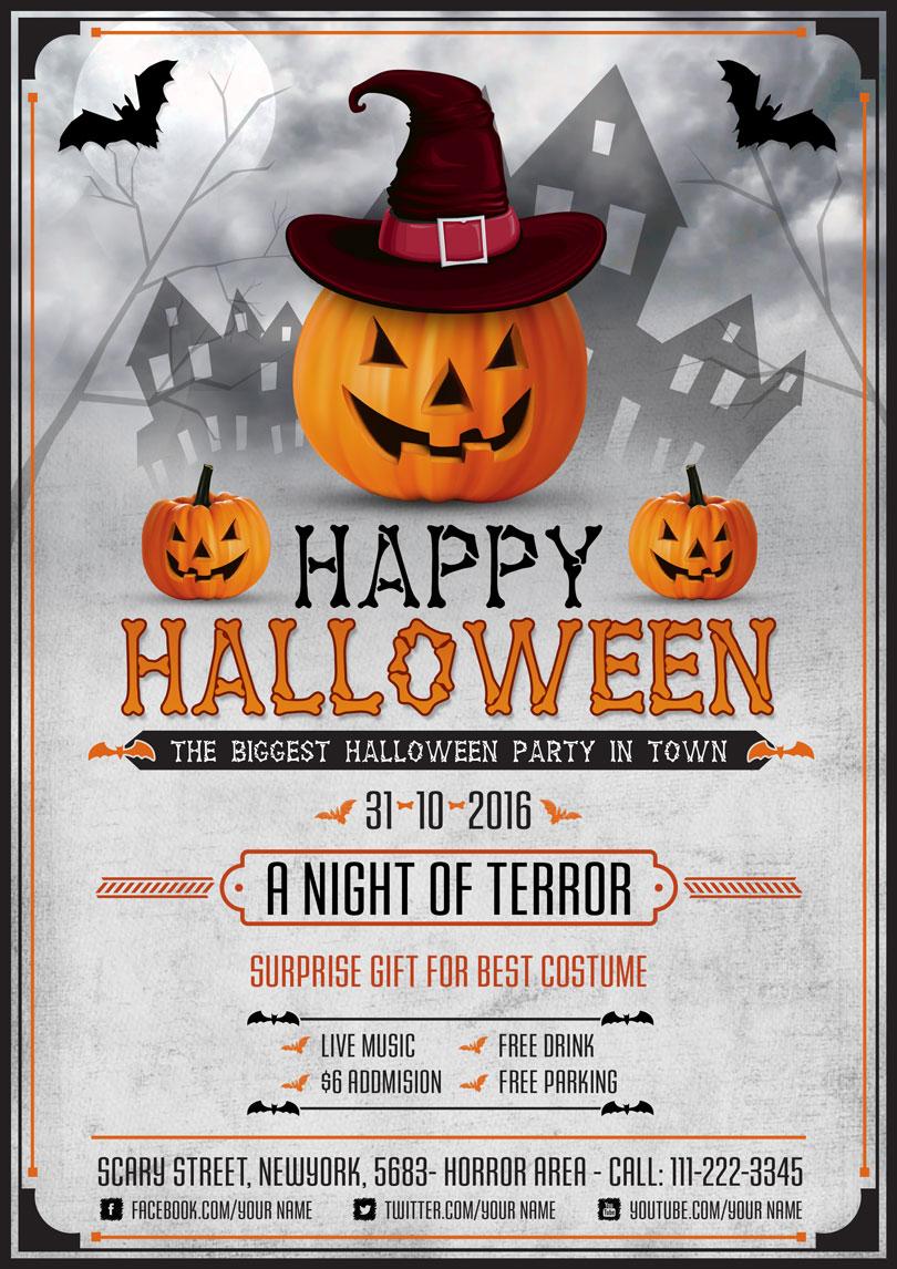 Scary Halloween Night Flyer Design Template PSD