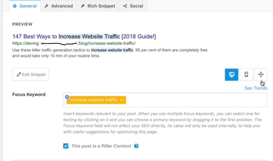 focus keyword in rank math-seo