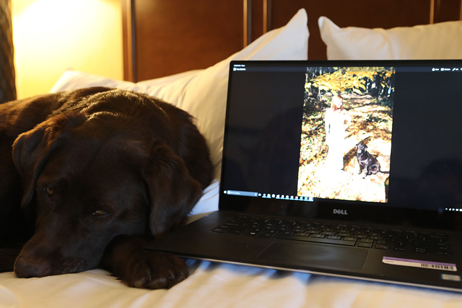 Munson helping select the photos