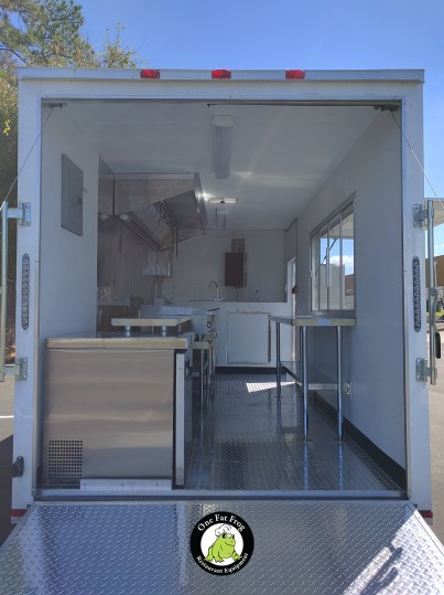 The inside of one of our latest trailer projects from the rear door.