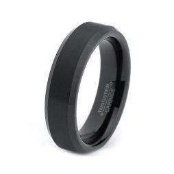Fekete wolfrámkarbid ( Vidia) gyűrű , Black Tungsten carbide wedding band Forrás:http://www.etsy.com