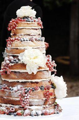 Csupasz menyasszonyi torta , Naked wedding cake Forrás:http://www.modwedding.com