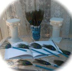 Pávatollas köszönetajándék , Peacock feather wedding favors Forrás:http://www.etsy.com