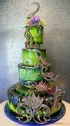 Pávás torta 3, Peacock wedding cake 3 Forrás:http://indulgy.com