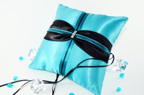 Türkiz gyűrűpárna , Turquoise wedding ring bearer pillow Forrás:http://www.etsy.com