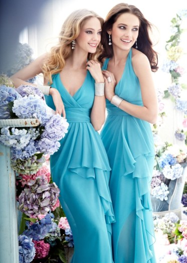 Türkiz koszorúslányruha / Turquoise bridesmaids dress Forrás:http://www.weddingsromantique.com