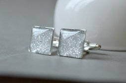Csillogó ezüst mandzsetta , Silver glitter wedding cuff links Forrás:http://www.etsy.com/