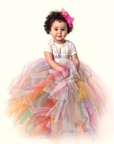 Szivárvány tütü virágszirom szóró lányka ruha ,Rainbow tutu flower girl dress Forrás:http://www.etsy.com/