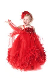 Vörös tütü virágszirom szóró lányka ruha ,Red tutu flower girl dress Forrás:http://www.etsy.com/