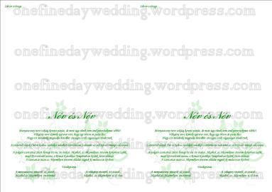 Zöld alul nyíló meghívó belső oldal