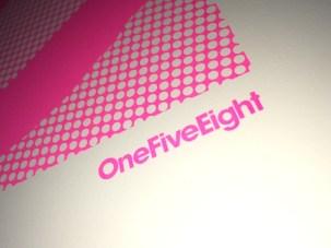 OneFiveEight screen printed logo detail