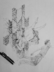 8 hours drawing - Falling Through Noise - James Hayes
