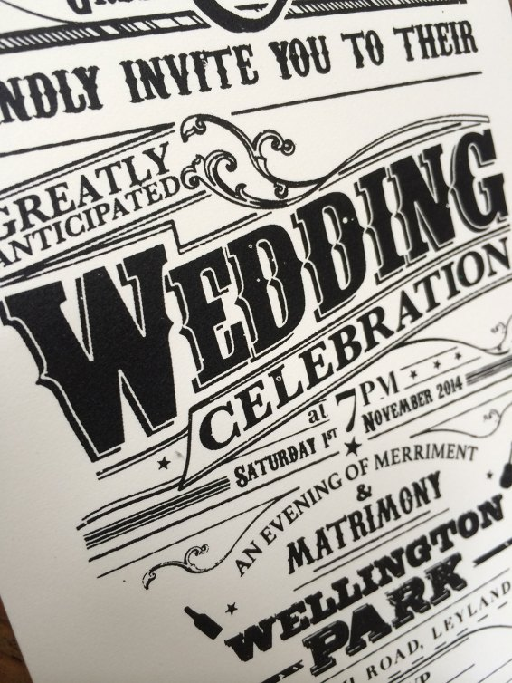 Hand screen printed Wedding invitation