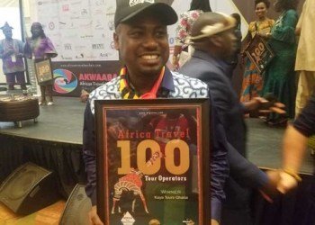 Radio presenter and broadcaster, Abeiku Santana with his award