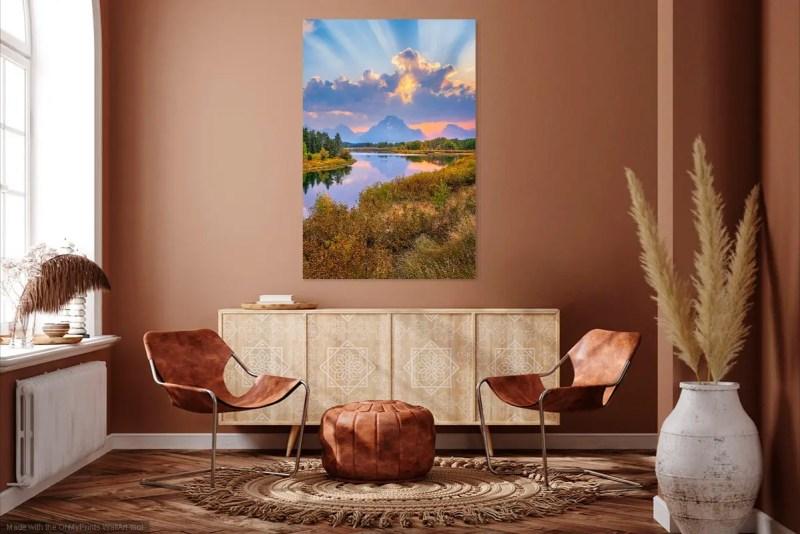 Sunrays Over Oxbow Bend Grand Teton National Park Wyoming Mockup