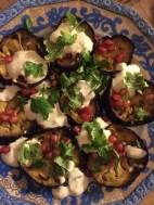 Eggplant, Tahini, Pomegrenate