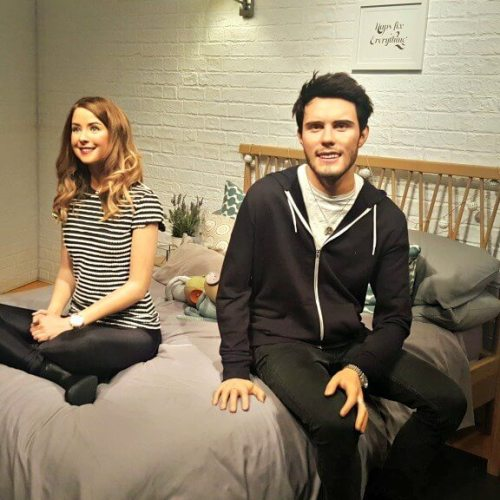 zoella at madame tussauds london waxworks on a bed