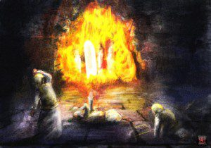 Daniel 3: 4 in the flame illustration