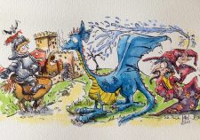 The first meeting, dragon watercolour illustration, Andy Gray
