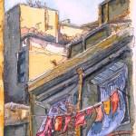 Italian Washing line in shade