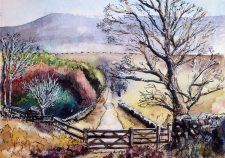 View of Pendle Hill Watercolour Painting