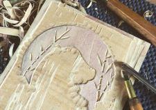 panda woodcut relief print