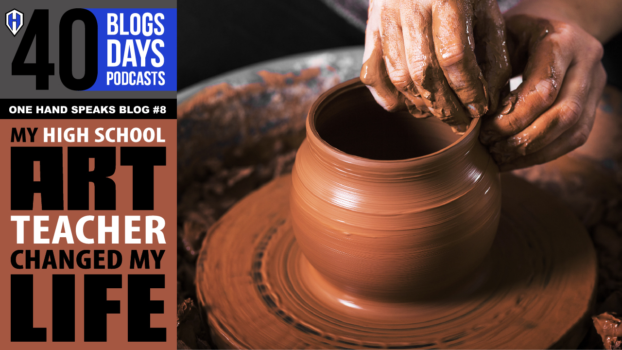 """An closeup image of someone """"throwing a clay pot"""" on a potter's wheel."""