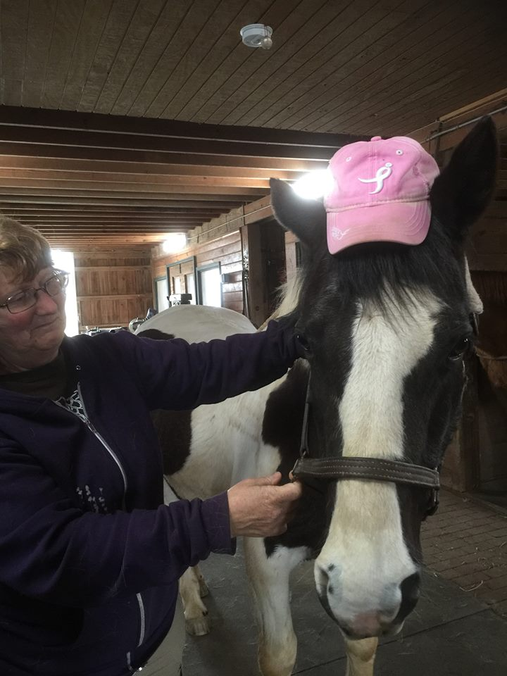 Zoey sporting her Breast Cancer Awareness Cap with Joyce