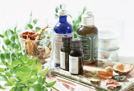 essential oil bottles plants herbs flowers