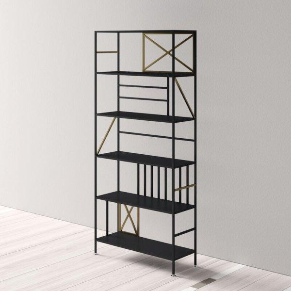 Black/Brushed Bronze Anja Etagere Bookcase