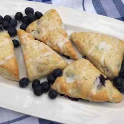 Blueberry Lemon  Scones with Sweet Lemon Glaze