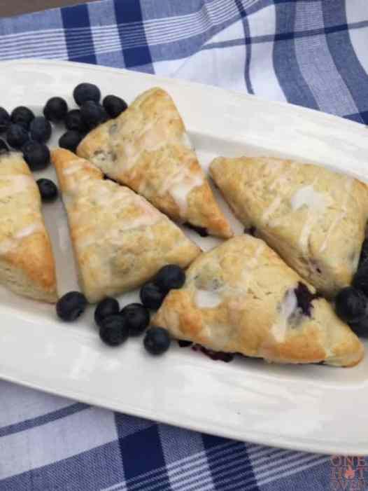 Iced blueberry lemon scones