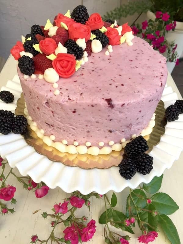 lemon cake with blackberries