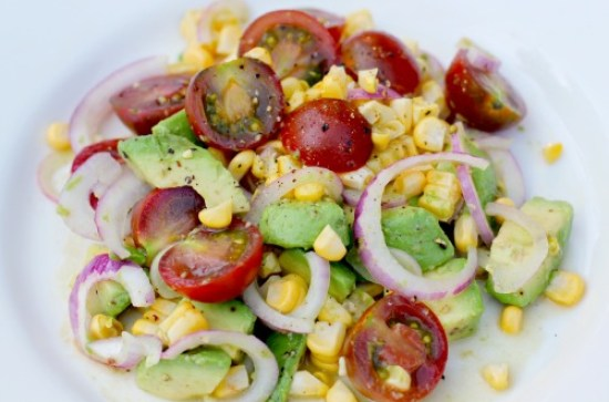 Easy Salad Recipes - Heirloom Tomato, Corn, and Avocado