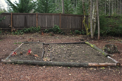 raised garden bed out of logs