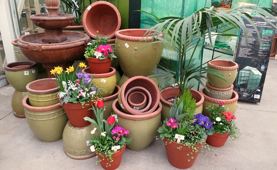 green flower pots