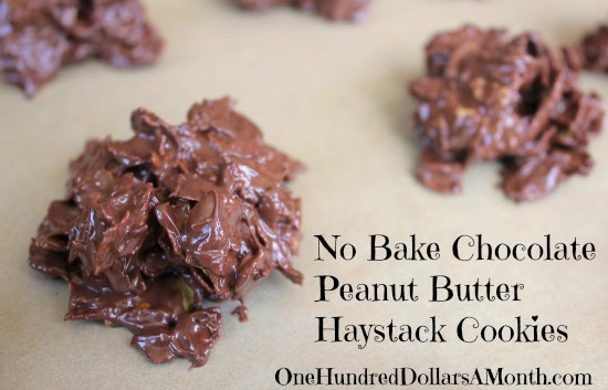 No Bake Chocolate Peanut Butter Haystack Cookies