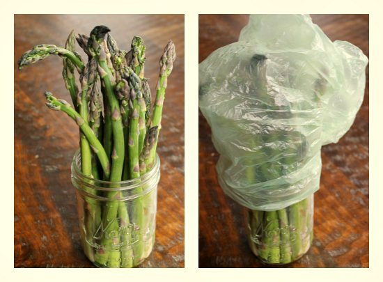 Last year I learned a cool trick to making asparagus last a little longer