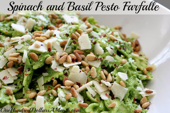 Spinach and Basil  Pesto Farfalle