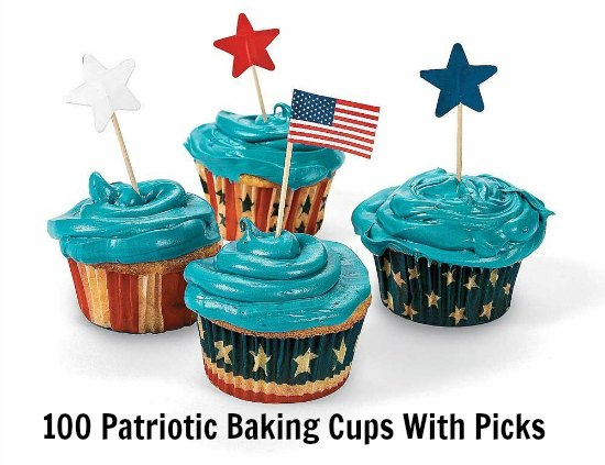 100 Patriotic Baking Cups With Picks