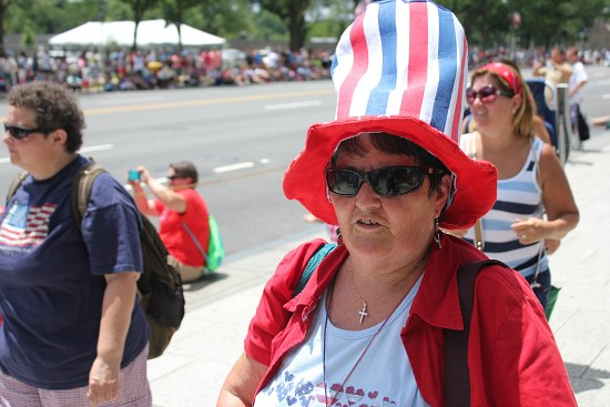 red white blue stripped hat