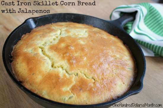Cast Iron Skillet Corn Bread with Jalapenos