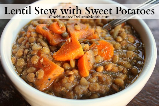 Slow Cooker Vegetarian Lentil Stew with Sweet Potatoes