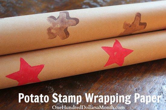 Easy Crafts For Kids - Potato Stamp Wrapping Paper