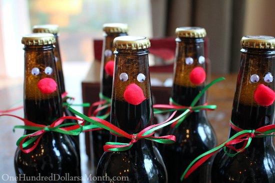 Easy Kids Christmas Crafts Reindeer Root Beer Bottles One Delectable Decorate Beer Bottles For Christmas