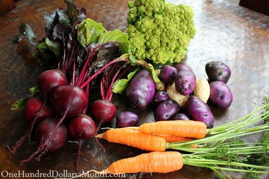 beets blue potatoes carrots broccoli